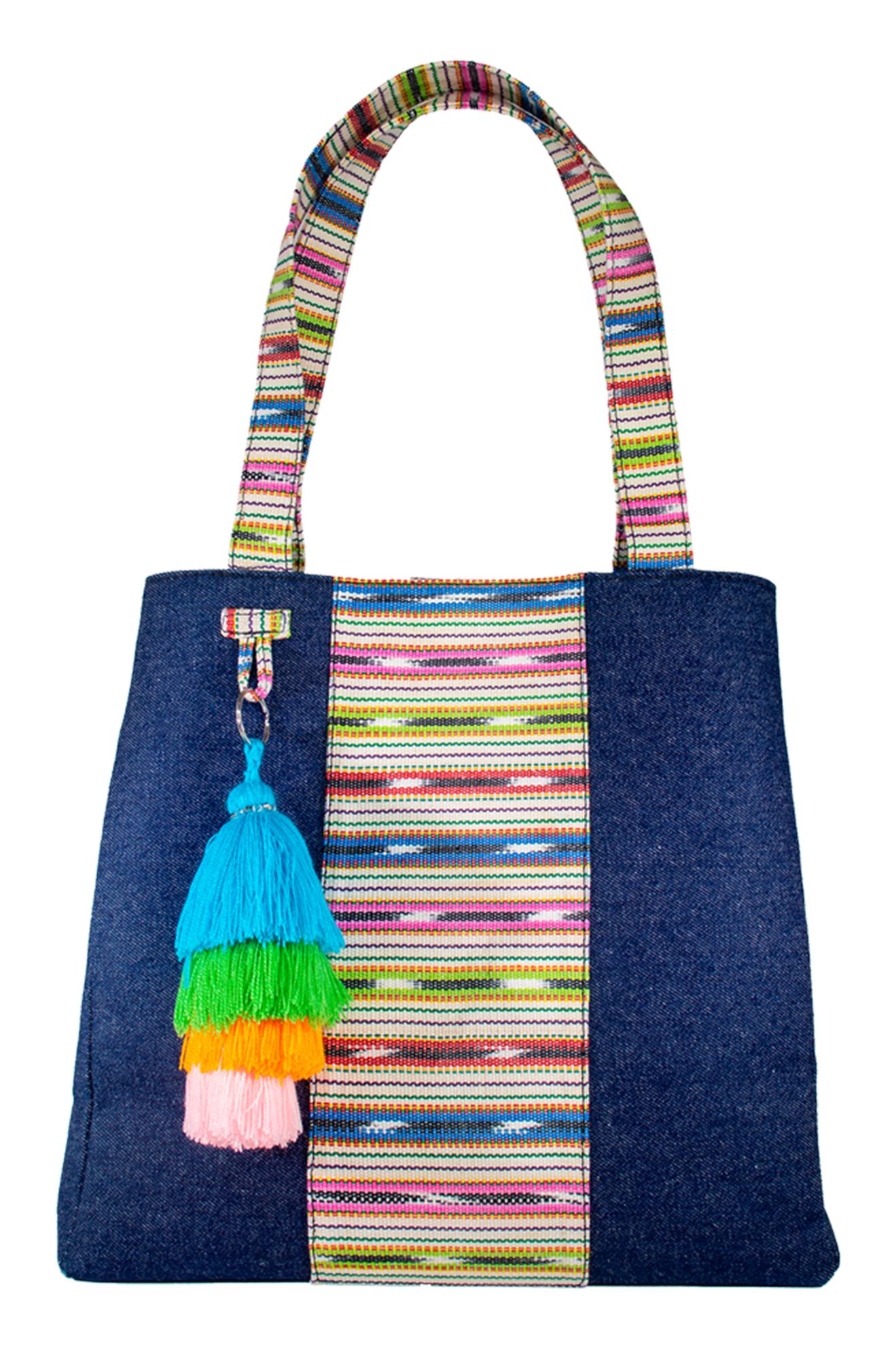 A beautiful denim and Guatemalan handwoven cotton textile shoulder bag