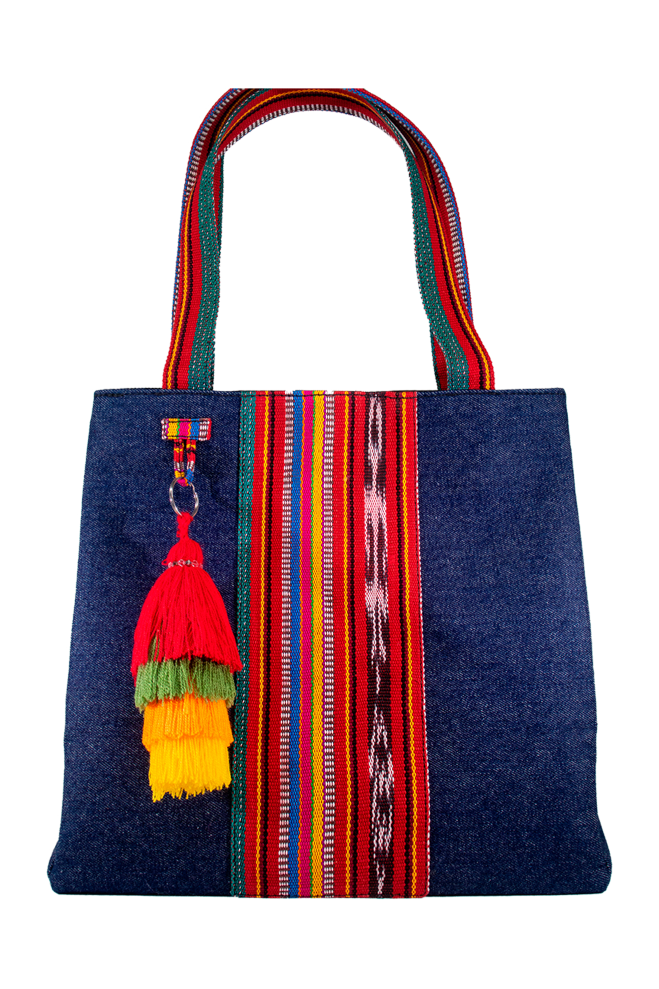"Denim & Handwoven Textile Shoulder Bag ""Tivoli"""