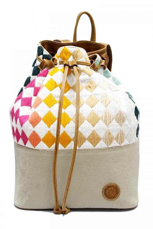 "Beige Velvet, Tan Leather & Rainbow Textile ""Rhombus Backpack"""
