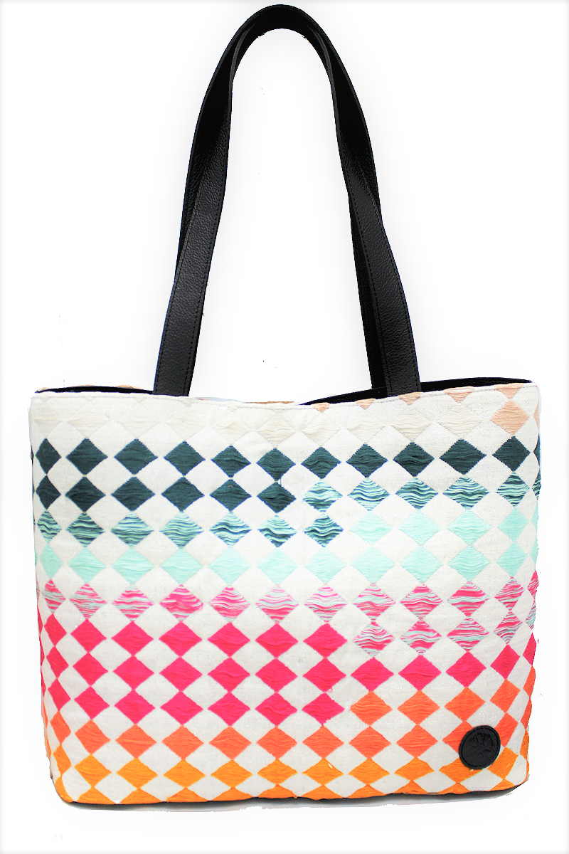 Velvet-Leather-&-Rainbow-Textile-Shoulder-Bag-Macao